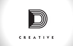 Progettazione di D Logo Letter With Black Lines Linea vettore Illust della lettera Immagine Stock Libera da Diritti