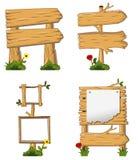Progettazione di di legno con il segno in bianco Immagine Stock