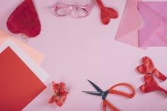 Progettazione di disposizione del piano di giorno del ` s del biglietto di S. Valentino Fotografia Stock Libera da Diritti
