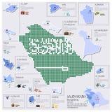 Progettazione di Dot And Flag Map Of Arabia Saudita Infographic Immagine Stock