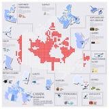 Progettazione di Dot And Flag Map Of Canada Infographic Immagini Stock