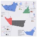 Progettazione di Dot And Flag Map Of Emirati Arabi Uniti Infographic Immagine Stock