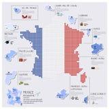 Progettazione di Dot And Flag Map Of Francia Infographic Fotografia Stock Libera da Diritti