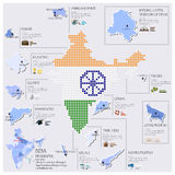 Progettazione di Dot And Flag Map Of India Infographic Immagini Stock Libere da Diritti