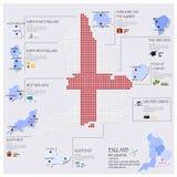 Progettazione di Dot And Flag Map Of Inghilterra Infographic Immagine Stock Libera da Diritti