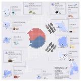 Progettazione di Dot And Flag Map Of Repubblica Coreana Infographic Immagine Stock Libera da Diritti