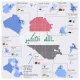 Progettazione di Dot And Flag Map Of Repubblica Irachena Infographic Fotografia Stock Libera da Diritti