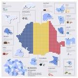 Progettazione di Dot And Flag Map Of Romania Infographic Fotografia Stock Libera da Diritti