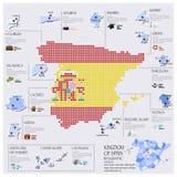 Progettazione di Dot And Flag Map Of Spagna Infographic Fotografia Stock Libera da Diritti