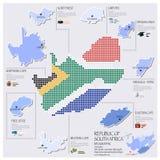 Progettazione di Dot And Flag Map Of Sudafrica Infographic Immagini Stock