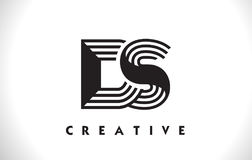 Progettazione di DS Logo Letter With Black Lines Linea vettore Illus della lettera Immagine Stock Libera da Diritti