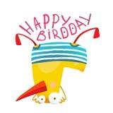 Progettazione di Duck Playing Birthday Greeting Card dei bambini Fotografia Stock Libera da Diritti