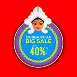 Progettazione di Durga Puja Big Sale Sticker, dell'etichetta o dell'etichetta Fotografia Stock Libera da Diritti