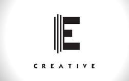 Progettazione di E Logo Letter With Black Lines Linea vettore Illust della lettera Royalty Illustrazione gratis