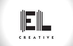 Progettazione di EL Logo Letter With Black Lines Linea vettore Illus della lettera Fotografia Stock Libera da Diritti