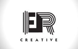 Progettazione di ER Logo Letter With Black Lines Linea vettore Illus della lettera Fotografie Stock