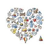 Progettazione di forma del cuore con i giocattoli per il neonato Fotografie Stock