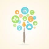 Progettazione di forma della spazzola dell'albero di Infographic delle icone di istruzione Fotografie Stock Libere da Diritti