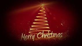 Progettazione di formazione leggera dorata dell'albero di Natale con il saluto royalty illustrazione gratis