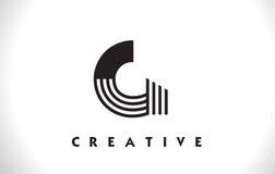 Progettazione di G Logo Letter With Black Lines Linea vettore Illust della lettera Royalty Illustrazione gratis