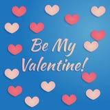 Progettazione di giorno di biglietti di S. Valentino di vettore nei colori rosa e blu con cuore con le ombre Progettazione per ac Fotografia Stock Libera da Diritti