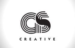 Progettazione di GS Logo Letter With Black Lines Linea vettore Illus della lettera Fotografie Stock