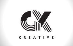 Progettazione di GX Logo Letter With Black Lines Linea vettore Illus della lettera Fotografia Stock