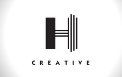 Progettazione di H Logo Letter With Black Lines Linea vettore Illust della lettera Illustrazione di Stock