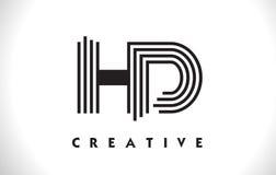 Progettazione di HD Logo Letter With Black Lines Linea vettore Illus della lettera Immagine Stock Libera da Diritti