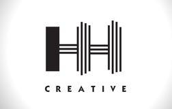 Progettazione di HH Logo Letter With Black Lines Linea vettore Illus della lettera Immagine Stock