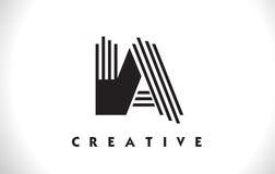Progettazione di IA Logo Letter With Black Lines Linea vettore Illus della lettera Fotografie Stock Libere da Diritti