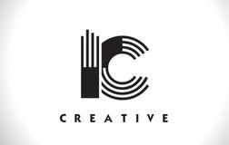 Progettazione di IC Logo Letter With Black Lines Linea vettore Illus della lettera Immagini Stock Libere da Diritti