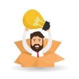 Progettazione di idea Icona della lampadina Concetto della soluzione Fotografia Stock Libera da Diritti