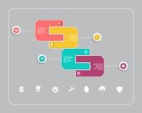 Progettazione di Infographic di affari con forma e l'icona Fotografia Stock