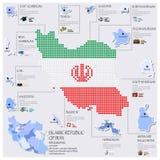 Progettazione di Infographic di Repubblica islamica dell'Iran di Dot And Flag Map Of Immagini Stock