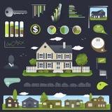 Progettazione di infographics del bene immobile con la casa Fotografie Stock Libere da Diritti