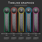 Progettazione di Infographics di cronologia con cinque opzioni illustrazione di stock