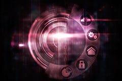 Progettazione di interfaccia rosa del quadrante di tecnologia Fotografie Stock