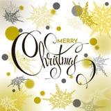 Progettazione di iscrizione brillante dell'oro di Buon Natale Illustrazione di vettore Immagini Stock Libere da Diritti