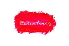 Progettazione di iscrizione calligrafica del testo felice di San Valentino sui colpi astratti della spazzola di colore a olio o d fotografia stock libera da diritti