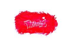 Progettazione di iscrizione calligrafica del testo felice di San Valentino sui colpi astratti della spazzola di colore a olio o d immagini stock libere da diritti