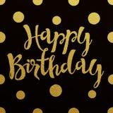 Progettazione di iscrizione dell'oro per il buon compleanno della carta Fotografia Stock Libera da Diritti