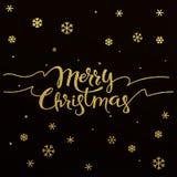 Progettazione di iscrizione dell'oro per il Buon Natale della carta Immagine Stock Libera da Diritti