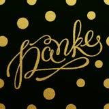 Progettazione di iscrizione dell'oro per la carta Danke Immagini Stock