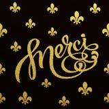 Progettazione di iscrizione dell'oro per la carta Merci Fotografie Stock