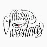 Progettazione di iscrizione di Buon Natale con il vischio di Natale e le bacche rosse - isolati su backgground bianco Perfezioni  Fotografia Stock