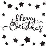 Progettazione di iscrizione di Buon Natale Lettere e stelle ricce di notte Fotografia Stock Libera da Diritti