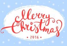 Progettazione di iscrizione di Buon Natale per la cartolina d'auguri Immagini Stock