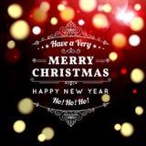 Progettazione di iscrizione di tipografia di Buon Natale Immagini Stock Libere da Diritti