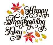 Progettazione di iscrizione disegnata a mano di vettore di giorno di ringraziamento con le foglie di autunno Fotografie Stock Libere da Diritti